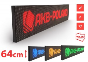 Reklama Panel LED HD P10 Mono Wysokość 64cm